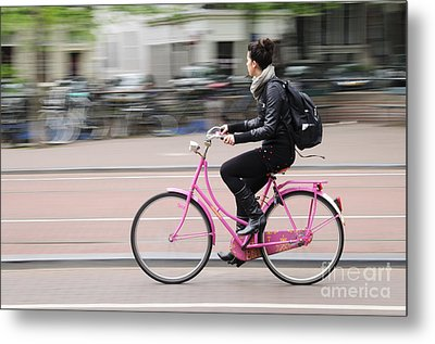 Girl On Pink Bicycle Metal Print by Oscar Gutierrez