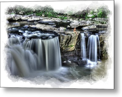 Girl On Rock At Falls Metal Print by Dan Friend