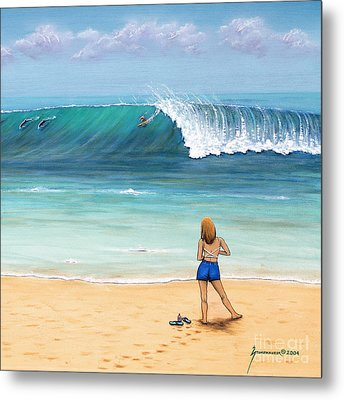Girl On Surfer Beach Metal Print by Jerome Stumphauzer