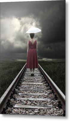 Girl On Tracks Metal Print by Joana Kruse
