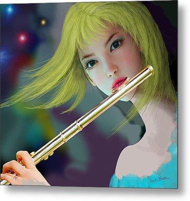 Girl Playing Flute 2 Metal Print