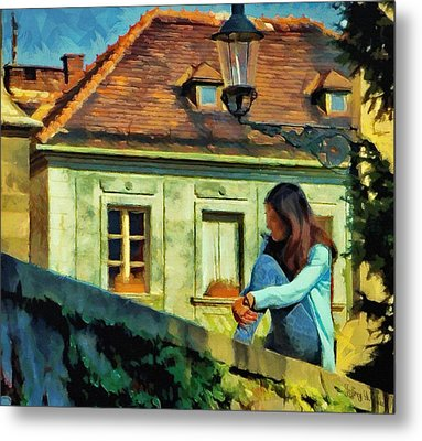 Metal Print featuring the painting Girl Posing On Stone Wall by Jeff Kolker