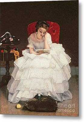 Girl Reading Metal Print by Alfred Emile Stevens