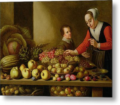 Girl Selling Grapes From A Large Table Laden With Fruit And Vegetables Metal Print by Floris van Schooten