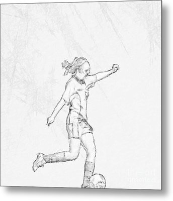 Girl Soccer Player Charcoal Sketch Metal Print by Randy Steele