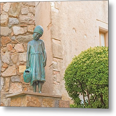 Girl Statue In Tossa De Mar Medievaltown In Catalonia Spain Metal Print
