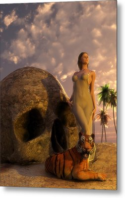 Metal Print featuring the digital art Girl Tiger And Giant Skull In The Desert by Kaylee Mason