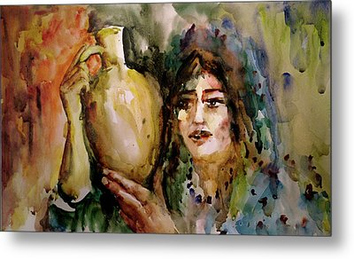 Girl With A Jug. Metal Print by Faruk Koksal