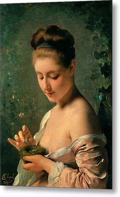 Girl With A Nest Metal Print by Charles Chaplin