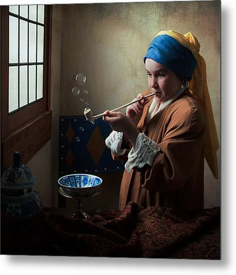 Metal Print featuring the photograph Girl With A Pearl Earring Blowing Bubbles by Levin Rodriguez
