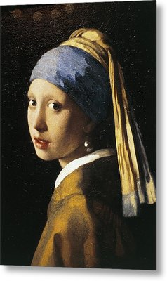 Girl With A Pearl Earring, C.1665 Oil On Canvas Metal Print by Jan Vermeer