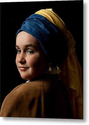 Metal Print featuring the photograph Girl With A Pearl Earring by Levin Rodriguez