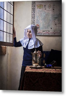 Girl With A Water Pitcher Metal Print by Levin Rodriguez