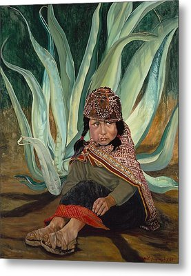Girl With Agave Metal Print
