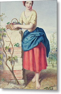 Girl With Basket Of Grapes Metal Print by Jules I Bouvier