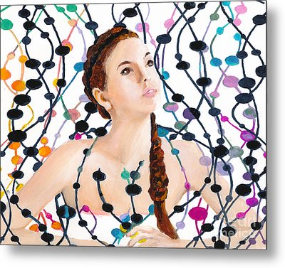 Girl With Beads Metal Print by Denise Deiloh