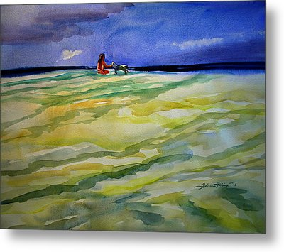 Girl With Dog On The Beach Metal Print by Julianne Felton