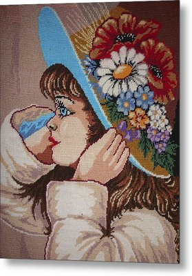 Girl With Flowers Metal Print by Eugen Mihalascu