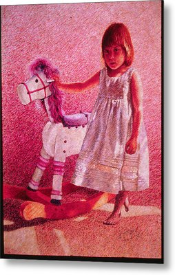 Girl With Hobby Horse Metal Print