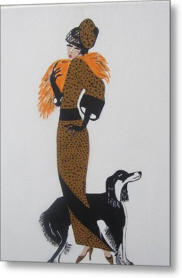 Metal Print featuring the painting Girl With Orange Fur by Nora Shepley