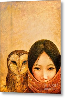 Girl With Owl Metal Print