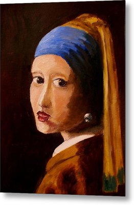 Girl With Pearl Metal Print by Constantinos Charalampopoulos