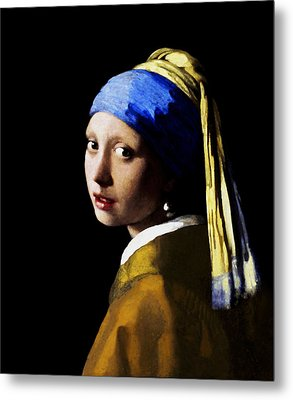 Metal Print featuring the digital art Girl With Pearl Ear Ring by Johannes Vermeer