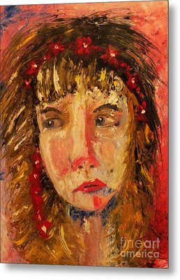 Girl With Red Flowers In Her Hair Metal Print
