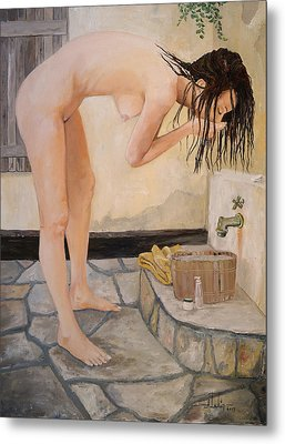 Girl With The Golden Towel Metal Print by Alan Lakin