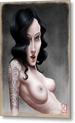 Girl With The Tribal Tattoo Metal Print