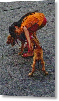 Girl With Two Dogs Metal Print by Mary Machare