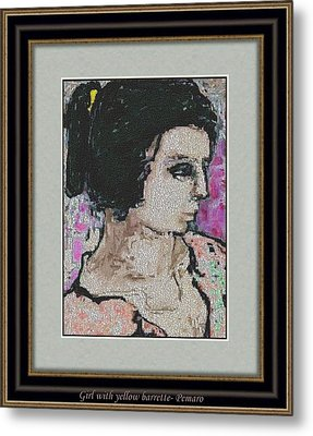 Girl With Yellow Barrette Gwyb2 Metal Print