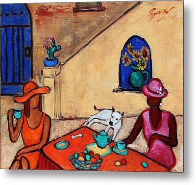 Metal Print featuring the painting Girlfriends' Teatime II by Xueling Zou