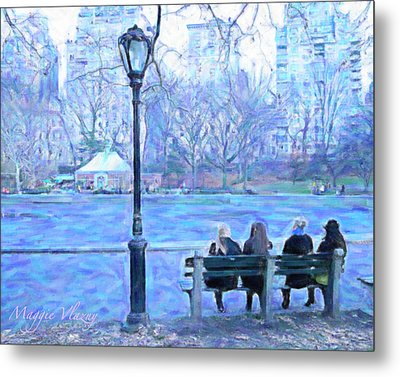 Girls At Pond In Central Park Metal Print