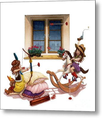 Girls Cowgirl Vs Indian Metal Print by Isabella Kung