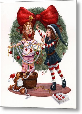Girls Decorating For Christmas Metal Print by Isabella Kung