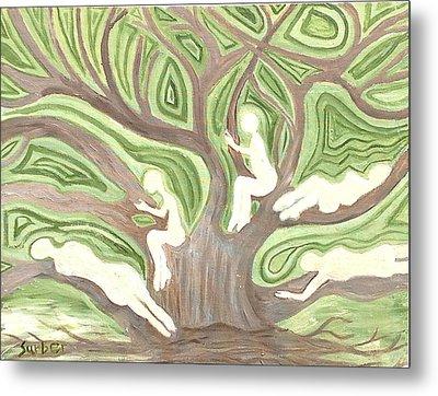 Girls In A Tree Metal Print