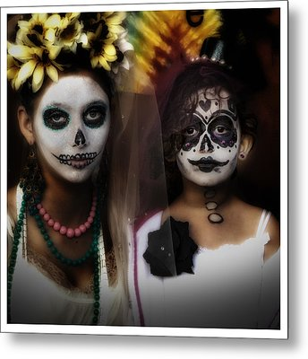 Girls In Costume For Dia Los Muertos Metal Print