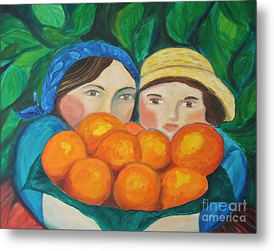 Girls In The Orange Grove Metal Print by Teresa Hutto