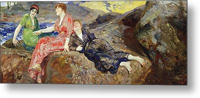 Girls On The Shore Metal Print by Max Klinger