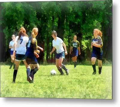 Girls Playing Soccer Metal Print
