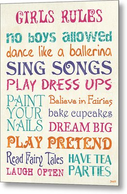 Girls Rules Metal Print by Debbie DeWitt