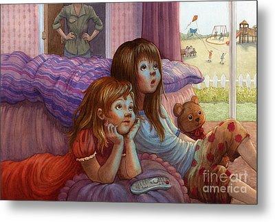 Girls Staring At Tv Metal Print by Isabella Kung