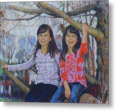 Metal Print featuring the drawing Girls Upon The Tree by Viola El