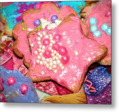 Metal Print featuring the painting Girly Pink Frosted Sugar Cookies by Tracie Kaska