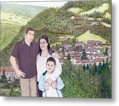 Metal Print featuring the painting Giusy Mirko And Simone In Valle Castellana by Albert Puskaric