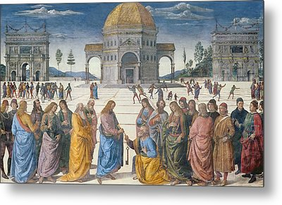 Giving Of The Keys To St Peter, From The Sistine Chapel, 1481 Metal Print by Pietro Perugino