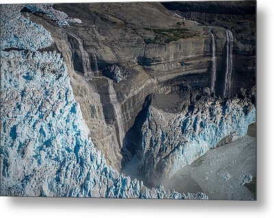 Glacier Icefall And Waterfalls Metal Print