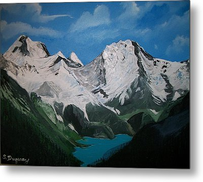 Metal Print featuring the painting Glacier Lake by Sharon Duguay