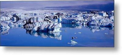 Glaciers Floating On Water, Jokulsa Metal Print by Panoramic Images